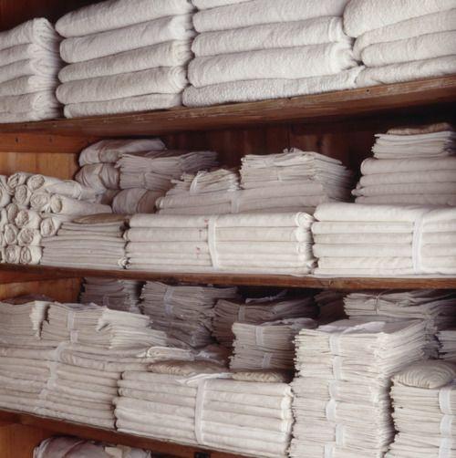 stacks of white linens.
