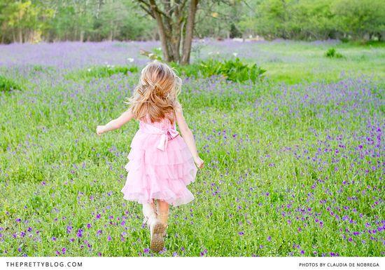 Running in the flower fields