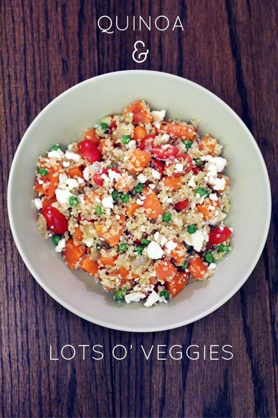 Quinoa and veg- I would probably sub something else for the sweet potato.