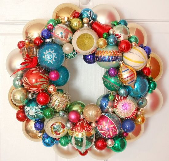 Christmas wreath from vintage ornaments