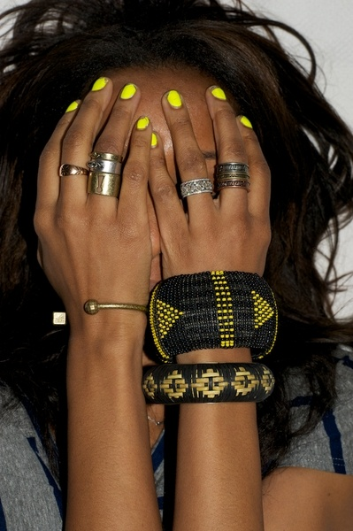 neon nails and rings