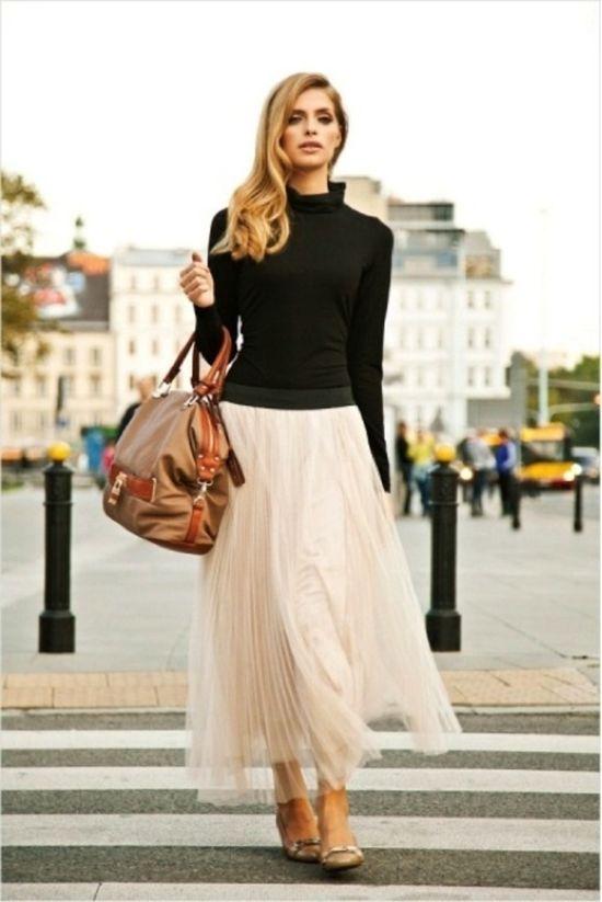 turtleneck. ankle length skirt. flowy.