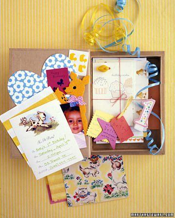 Birthday memory boxes.
