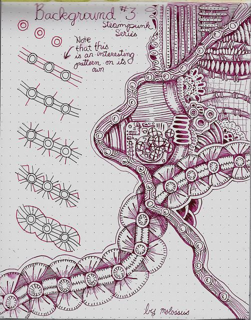 Background #3-tangle pattern by molossus, who says Life Imitates Doodles, via Flickr