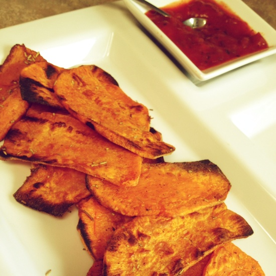 Sweet potato 'chips' with salsa, and a hummus/salsa mix as choices for dip!