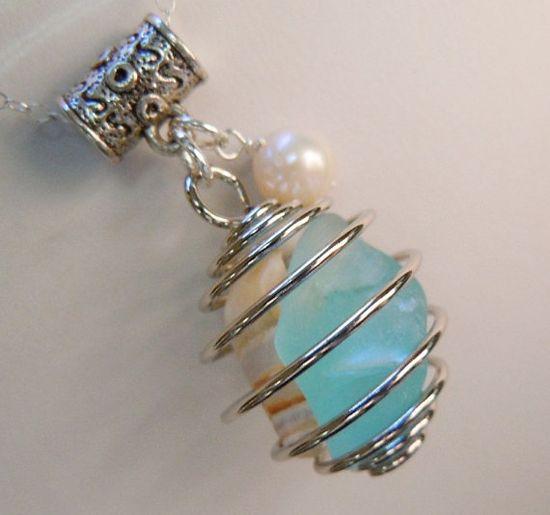 Sea Glass Necklace -  Beach Glass Wire Wrapped Neckalce Seaglass  Jewelry