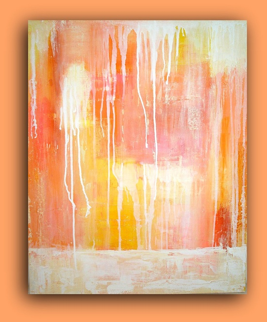 "Painting Coral Abstract Painting Original Acrylic Art Textured Fine Art on Gallery Canvas 24x30x1.5"" Titled: Raining White by Ora Birenbaum. $245.00, via Etsy."