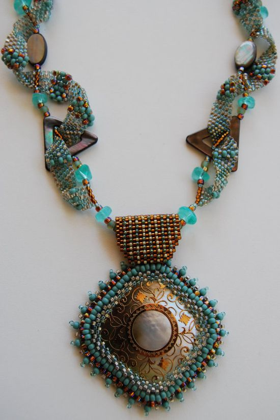 Jewelry Bead Weaved Necklace by LissC on Etsy, $129.00