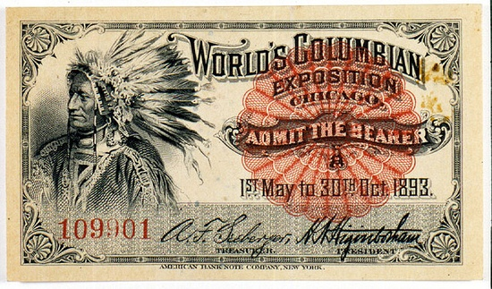Ticket with portrait of Native American by The Field Museum Library, via Flickr