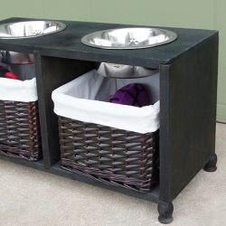 Make your dog their very own piece of furniture to hold their food and water and store extra treats and toys. Full tutorial!