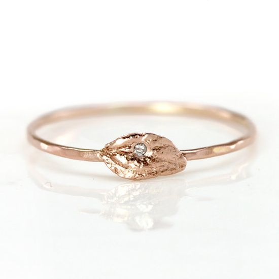 Diamond Leaf Ring in 14k Rose Gold  Thin by ScarlettJewelry, $188.00...but in white gold, with a 1.2mm band. :)