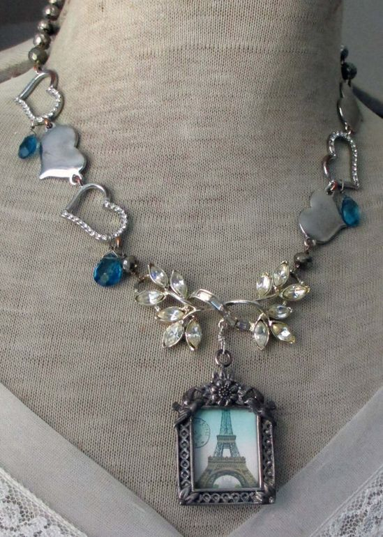 'i left my heart in paris' vintage assemblage necklace by The French Circus, $169.00