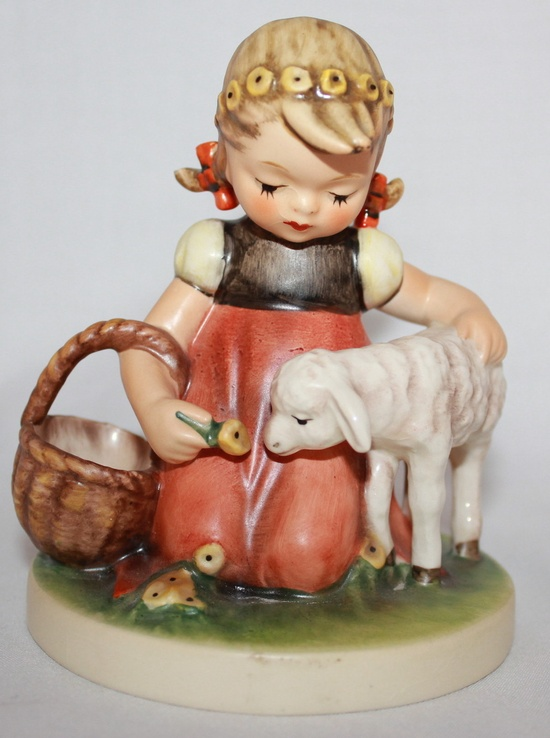 Vintage Goebel Hummel Porcelain Figure TMK-6 Favorite Pet Girl with Sheep #361
