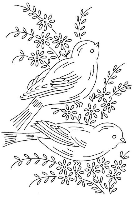 birds 6 by love to sew, via Flickr; sew, trace, colouring, drawing