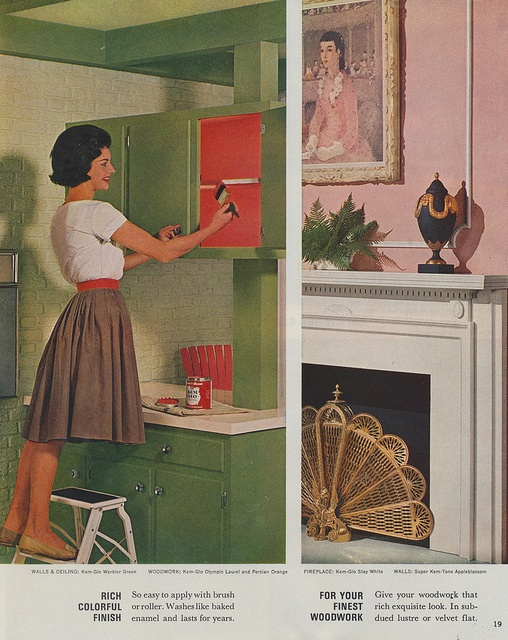 Sherwin Williams Home Decorator Color-Styling and Painting Guide, 1963. Painting the inside a contrasting color
