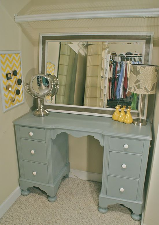 A desk turned into a vanity.