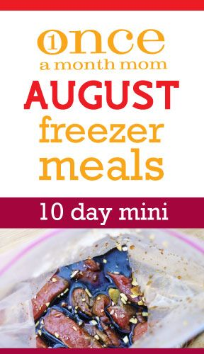 Once a month August freezer meals