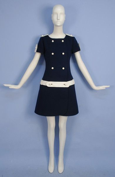 Mod Leather Trimmed Wool Day Dress, 1960's