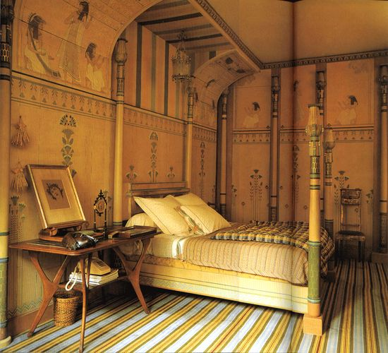 Egyptian-revival bedroom by Jacques Grange.