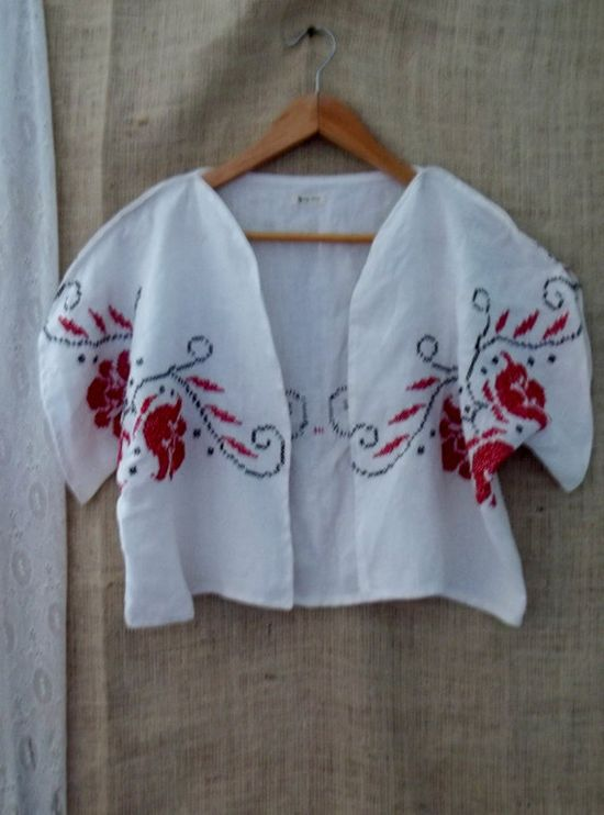 Upcycled vintage cross stitched linen jacket