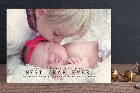 Best. Year. Ever.  Love this card for a baby's first Christmas!!  Find a link to more New Baby Holiday card options in the post.  #firstchristmas #baby #cards #birthannouncement #harvardhomemaker