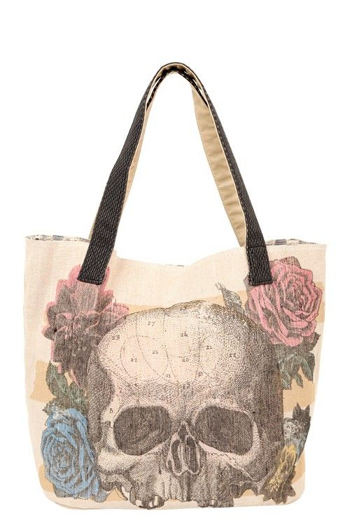 Loungefly – Neutral Canvas Skull Tote