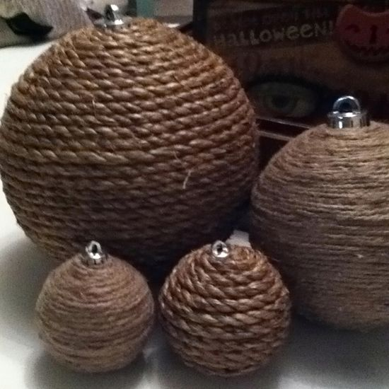Old ornaments wrapped with twine for my rustic Christmas tree.
