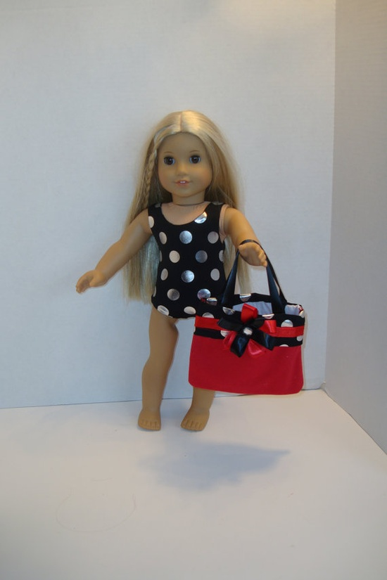 American Girl Doll black polka dot Swimsuit by donnasdollfashions, $14.00