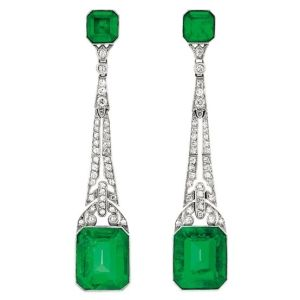 Art Deco Platinum, Emerald and Diamond Earrings.