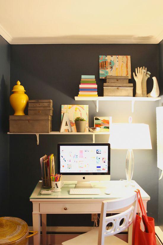 For the office: shelves above desk