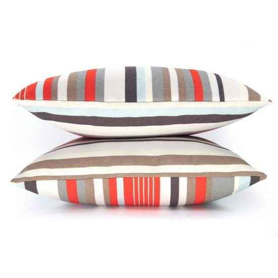 Stripe pillow cover  Orange blue gray light by ClassicByNature, $28.00