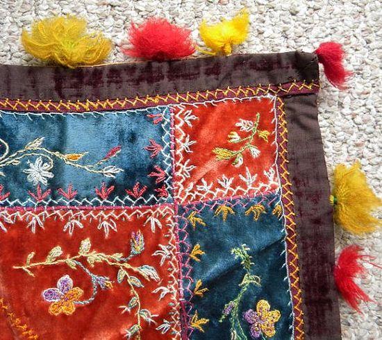 Antique Table Cover Velvet Silk Embroidery 1800s Bohemian