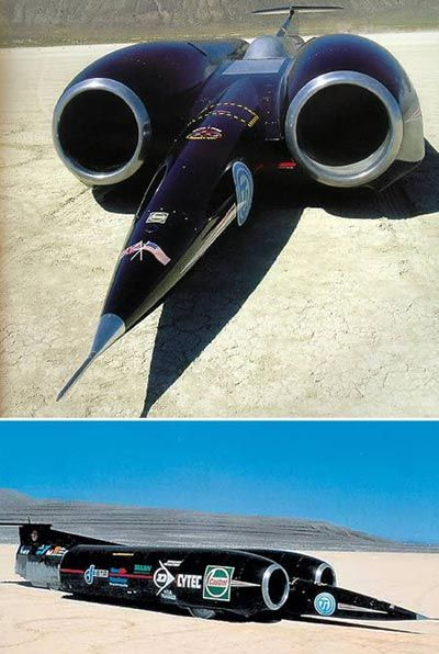 The Thrust SSC, the fastest car in the world and the only one to break the sound barrier. Credit to my Uncle who worked on this.