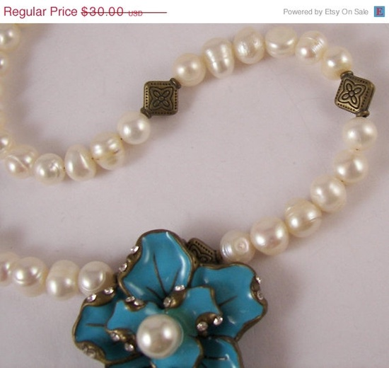 Holiday SALE 30 Percent OFF Beautiful Flower Pearls by ilovemy1984, $21.00