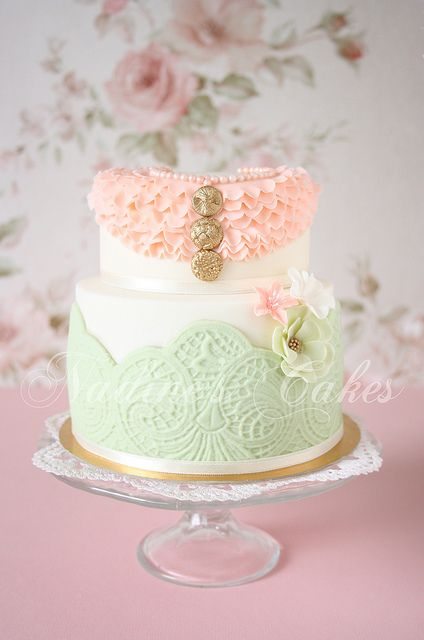 Ruffle and lace cake
