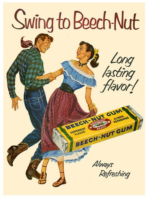Swing to Beech-Nut! #vintage #1950s #Western #gum #ads