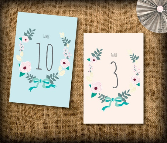Super cute printable table numbers.