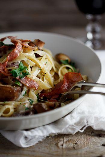 Fettucini with a mushroom, bacon cream sauce