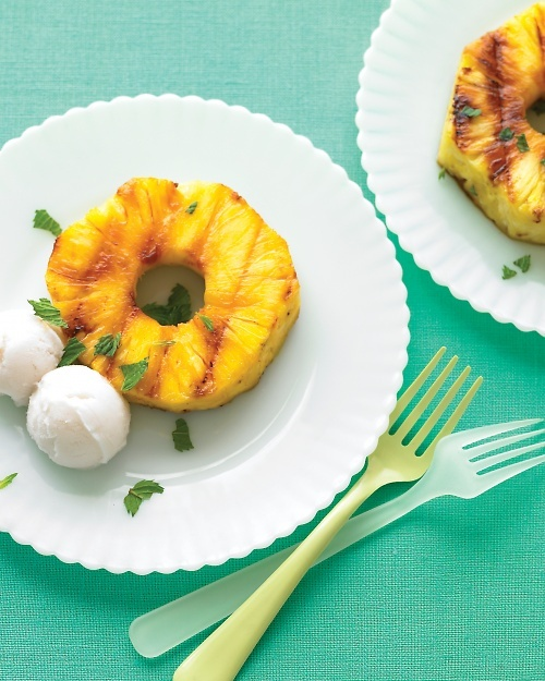 Grilled Pineapple with Coconut Sorbet Recipe for a lighter dessert. #Fruit #dessert #health