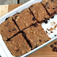 Banana-Carob Protein Bars. Ingredients: old fashioned rolled oats, oat flour, pr
