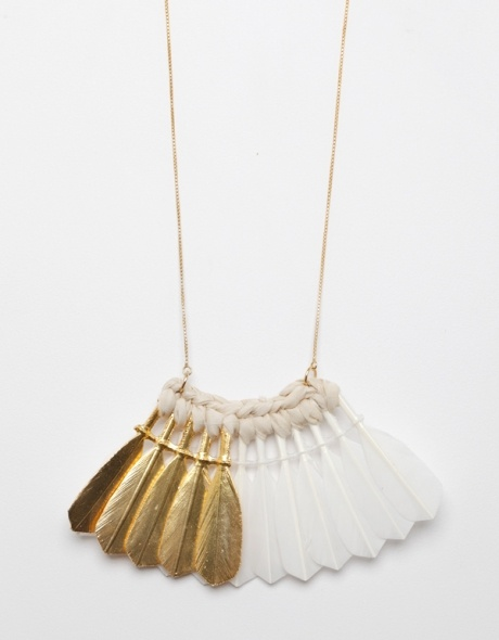gold dipped feather necklace