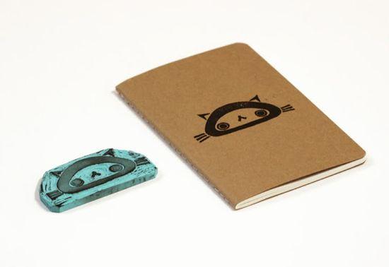 New Cat hand carved rubber stamp and notebooks. #moleskine #notebooks #cat #kitten #handmade #craft