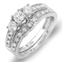 1.00 Carat (ctw) 14K White Gold 3 Stone Ladies Round Diamond Engagement Ring Bridal Matching Band Set
