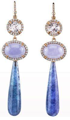 Irene Neuwirth Kunzite, Lavender Jade, Diamond & Tanzanite Drop Earrings. Via Diamonds in the Library.