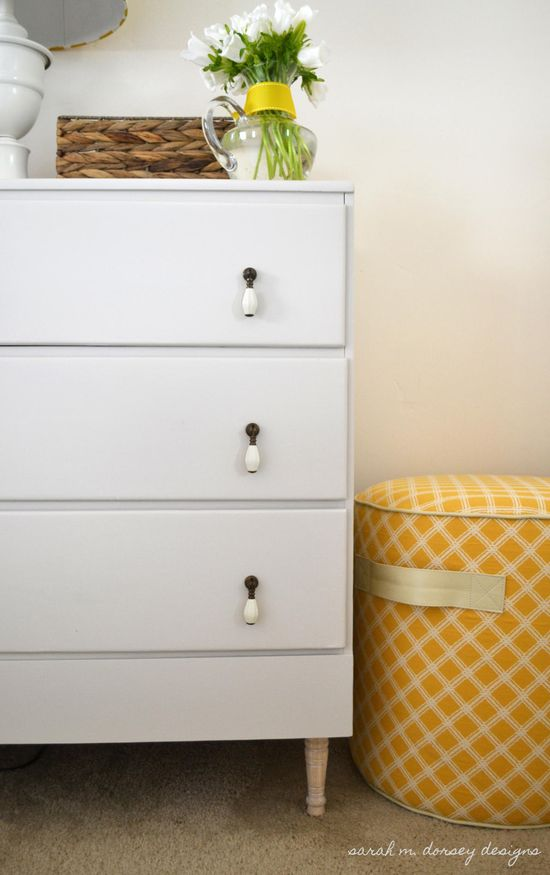 Creative Drawer Pulls using robe or leather - Sarah M. Dorsey Designs - Bedroom