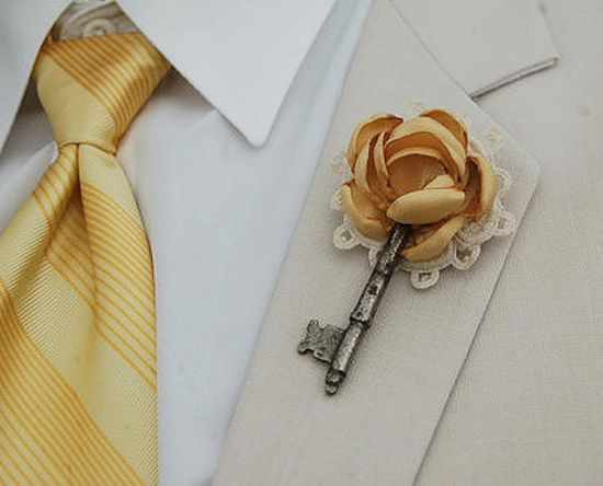vintage key boutonniere...can change flower to match wedding and drop the doily