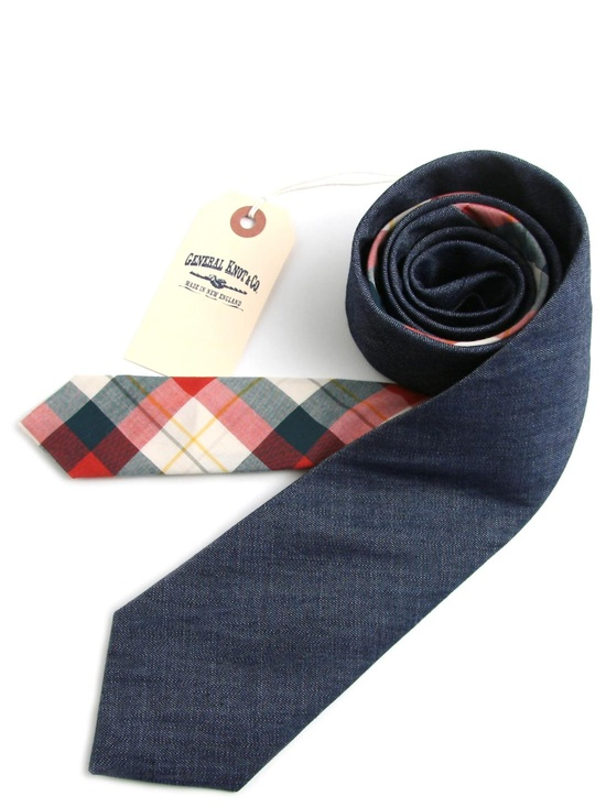 General Knot & Co ++ Dark Denim Shirting & Bedford Plaid Necktie
