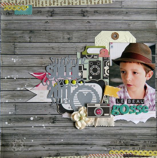 #papercraft #scrapbook #layout Le Beau Gosse, the layout of the week, is brought to you by Ma-Ni Scrap.