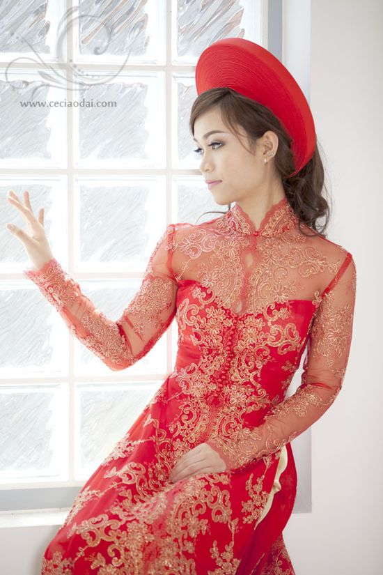 Ceci Ao Dai from Sydney $450. I really like the softer look of the lace collar. Also comes in a V-neckline. #aodai     NOTES: Gra thinks this one is a bit too busy.