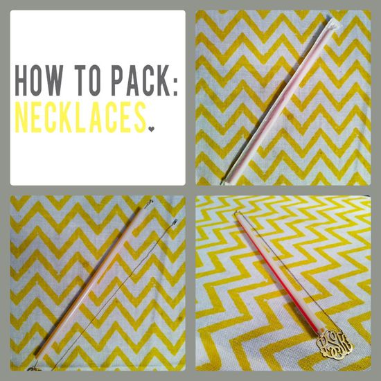 pack necklaces for travel : use a straw so they don't tangle